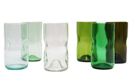 Set of 6 tall glasses in wooden crate