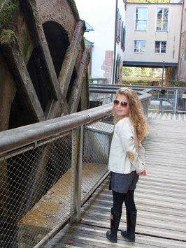 Gingersnaps: Reverse Knit Sweater with Gold Sequind Elbow Patch