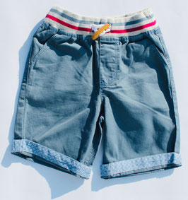 Gingersnaps - Twill Pull-Up Shorts with Knitted Waistband in China Blue