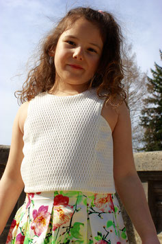 Gingersnaps: Mock 2-in-1 Dress with Mesh Top and Printed Pique Skirt - Multicolor