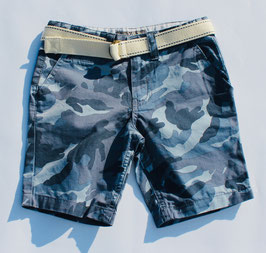 Gingersnaps - Camou Shorts with Canvas Belt in Blue