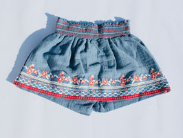 Gingersnaps: Skort with Smocked Waist and Senefa Embroideries in Faded Denim