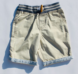 Gingersnaps - Twill Pull-Up Shorts with Knitted Waistband in Light Gray