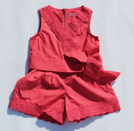 Gingersnaps: Playsuit with Overlap Lace & Hem Trim in Rose of Sharon Coral Red