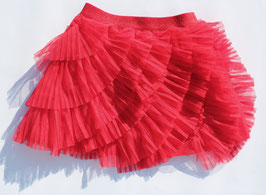 Gingersnaps: Assymetrical Tiered Tulle Skirt in True Red