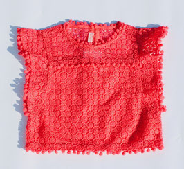 Gingersnaps: Lace Top with Pompom Trims & Frilly Sleeves // Spitzentop mit Pompom Rändern