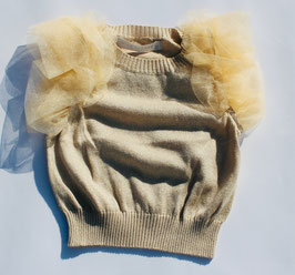 Gingersnaps: Sweater Knit Top with Tulle Frill Sleeves in Offwhite/Gold