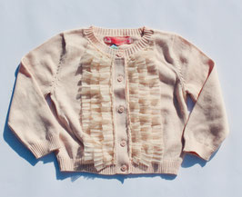 Gingersnaps: Cardigan with Pleated Tulle Trims on Placket in Pale Dogwood