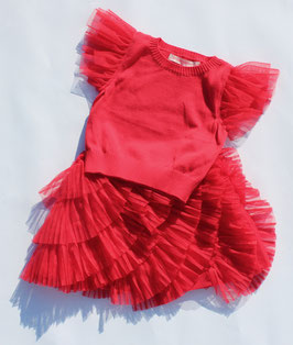 Gingersnaps: Sweater Knit Top with Tulle Frill Sleeves in True Red // Stricktop mit Tüll Ärmel