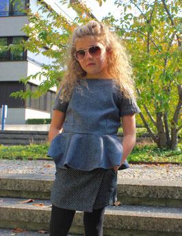 Gingersnaps: Wool Peplum Top with Knitted Rib Sleeves // Woll-Schösschen Top mit gestrickten Rippärmeln