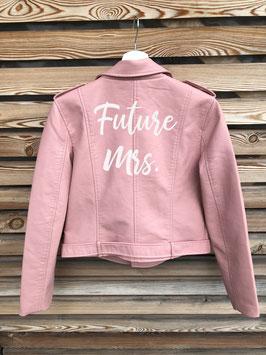 Kunstlederjacke rosa von Meaneor, Grösse M/L, Aufdruck frei wählbar