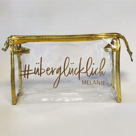 Makeup Tasche transparent/gold für Braut, Trauzeugin, Brautjungfern