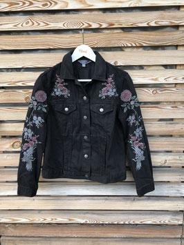 Jeansjacke schwarz mit Stickereien  von Dorothy Perkins, Grösse  40, Aufdruck frei wählbar