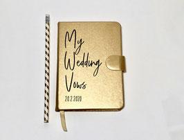 Notizbuch Eheversprechen A6, gold, personalisierbar