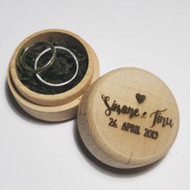 Ringbox rund aus Holz, personalisierbar