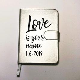 Notizbuch Eheversprechen A6, silber,  personalisierbar