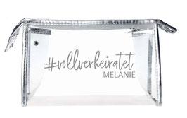 Makeup Tasche transparent/silber für Braut, Trauzeugin, Brautjungfern