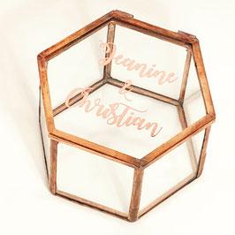 Ringbox Hexagon kupfer