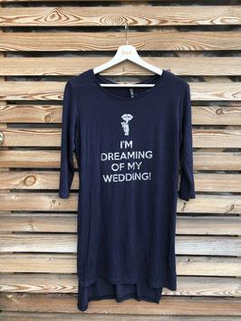 "Nachthemd, marineblau, Grösse M, ""I'm dreaming of my wedding"""