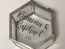 Ringbox Hexagon silber