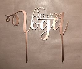 """Tortenstecker """"Mr&Mrs"""" personalisiert mit Nachname, 2 Schriften"""
