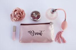 """Makeup Tasche """"Pink Polka Dots"""" für Braut, Trauzeugin, Brautjungfern"""