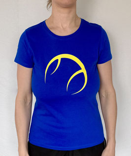 KIT T-Shirt Damen royalblau, Logo gelb