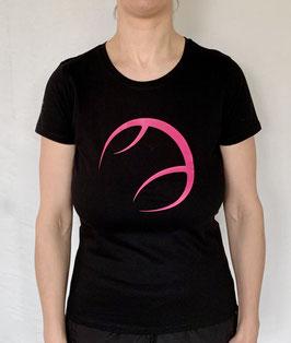 KIT T-Shirt Damen schwarz, Logo pink