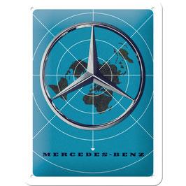 """Blechschild """"Mercedes-Benz Weltweit"""""""