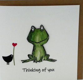 KAART met enveloppe 'thinking of you' kikker