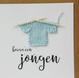BABY Hoera een jongen (truitje lichtblauw)
