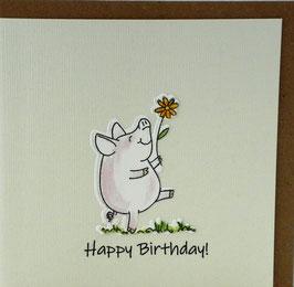 KAART met enveloppe 'happy birthday' varkentje met bloem