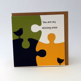 KAART met enveloppe 'you are my missing piece' puzzelstukjes