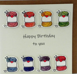 KAART met enveloppe 'happy birthday to you' bolletjes wol