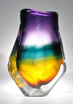 Mehrfarbige Überfangvase von Pierre Marion