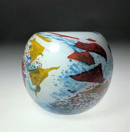Kugelige Vase mit abstraktem Dekor von Yann Amoruso