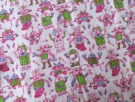Jerseystoff Rolling Robots rosa