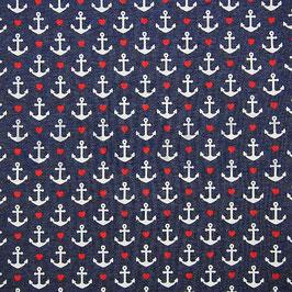 Jerseystoff Anker und Herzen in navy melange