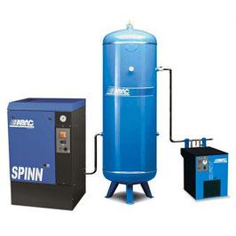 Compresseur rotatifs avec réservoir vertical peint et traitement de l'air