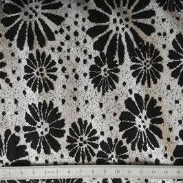 Jersey fleurs noir et blanc 7440