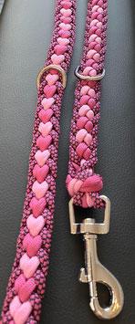 Paracord Hundeleine Herz pink, rosa