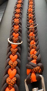 Paracord Hundeleine Herz orange braun