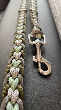 Paracord Hundeleine Herz grün, grau