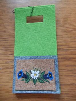 Filz - Ladetasche grün Edelweiss & Enzian