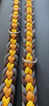 Paracord Hundeleine Herz goldgelb, braun, grau