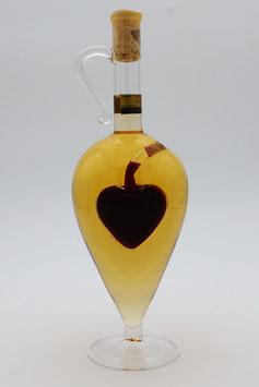 """Glasamphore mit Qualitätswein """"Furmint"""" und zusätzlichem Rotweinherz im Inneren der Flasche"""