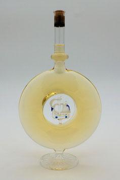 """Weinflasche in Diskusform mit Qualitätswein """"Furmint"""", zusätzlich mit Segelschiff bestückt"""