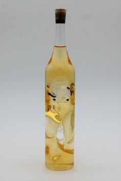 """Kleine Weinflasche gedreht mit Qualitätswein """"Furmint"""", außen mit Segelschiff bestückt"""