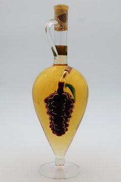 """Glasamphore mit Qualitätswein """"Furmint"""" und zusätzlicher Rotweinrebe im Inneren der Flasche"""