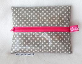 """Feuchttücher-Tasche """"Stars"""" grau  (Reissverschluss in pink)"""